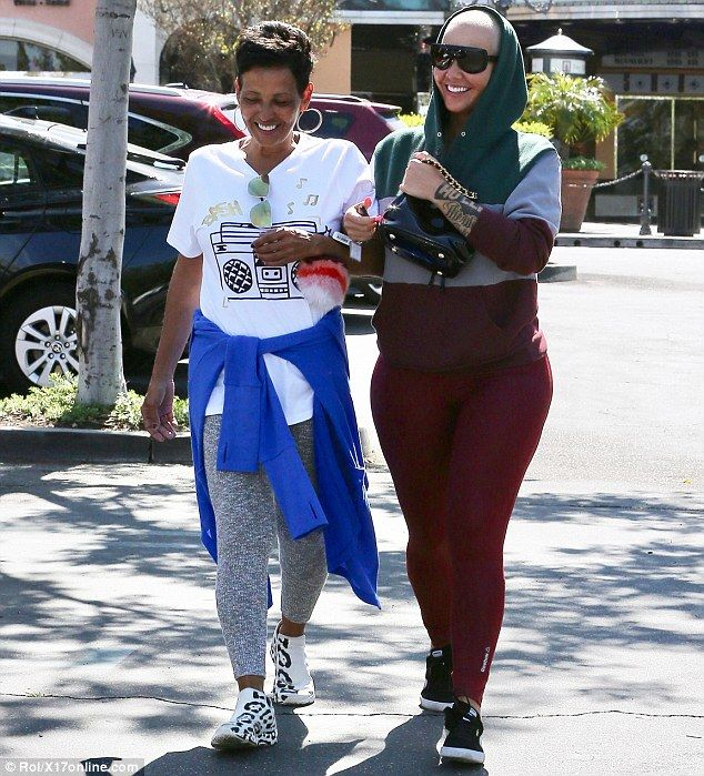 Show your sporty side in a color block hoodie like Amber Rose. Click 'Visit' to buy now. #DailyMail