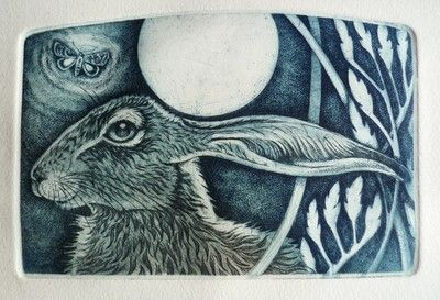Hare by Louise Scott (etching)