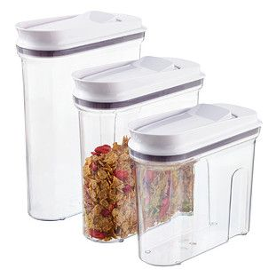 Good Grips® POP Cereal Dispensers - So easy to pour cereal and oatmeal with! The airtight seal keeps cereal fresher longer, meaning no more stale breakfast :)