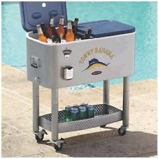 Delightful NEW TOMMY BAHAMA Outdoor Rolling Patio Deck Party Cooler Ice Chest 77qt 100  Can