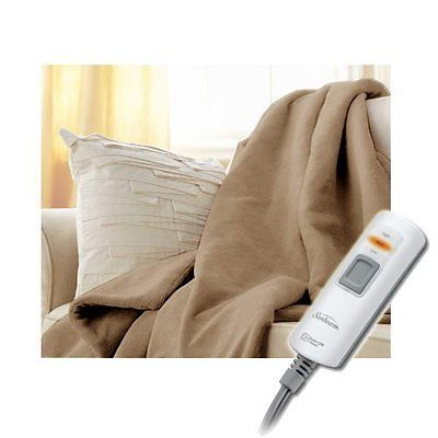 Sunbeam TSV8WS-R772-33A00 Velvet Plush Electric Heated Throw Blanket Mushroom Be