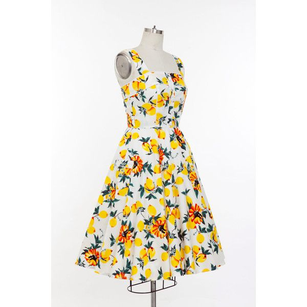 Pin Up Dress Lemon Dress Sun Dress Summer Dress Vintage Swing Dress... ❤ liked on Polyvore featuring dresses, vintage swing dress, plus size white sundress, plus size dresses, plus size sundresses and plus size pin up dresses