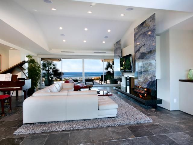 Awesome Tropical House Above the Beach : Beautiful Tropical House With White Living Room Wall Sofa Pillow Wooden Table Grey Carpet Piano Chair Big Window Glass Door Lamp Natural Stone Floor