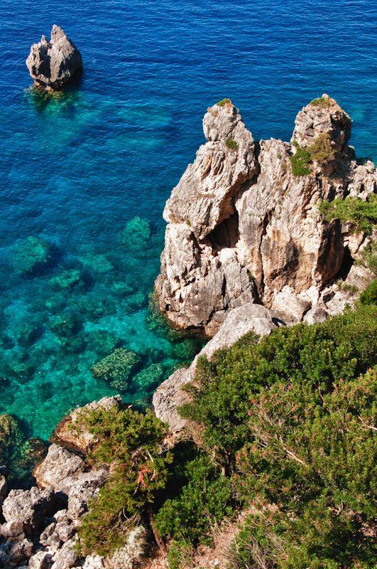 Corfu Coast Below Paleokastritsa Monastery