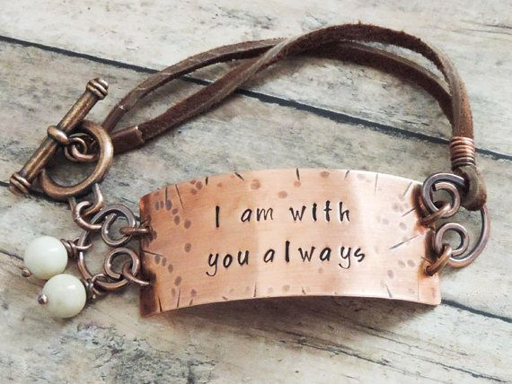 Christian Jewelry Christian Bracelet Bible Verse Jewelry Religious Jewelry Inspirational Gift  I am with you always Matthew 28:20