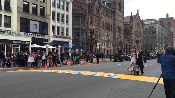 Boston Marathon bombing survivor, Adrianne Haslet-Davis dances on the finish line.