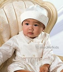 SL216 Sarah Louise Ivory Pure Silk Christening Romper + Hat
