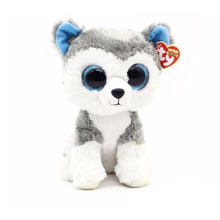 1pcs 18cm 2015 Hot Sale Ty Beanie Boos Big Eyes Husky Dog Plush Toy Doll Stuffed Animal Cute Plush Toy Kids Toy