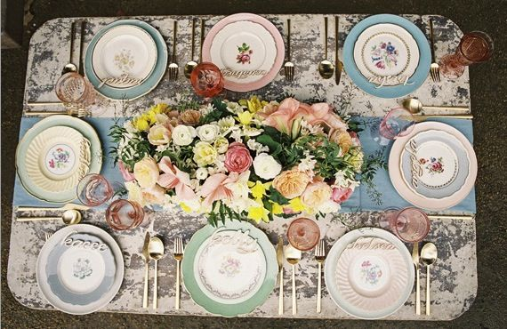 pretty place settings for a bridal shower