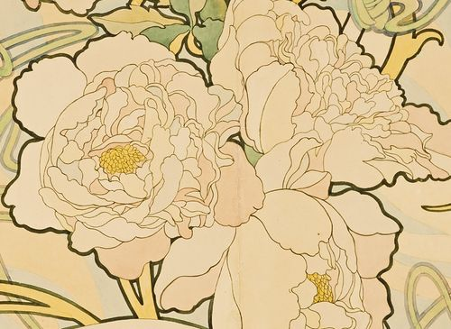 lilyashwell:  Alphonse Mucha, Detail from Peonies (1897)