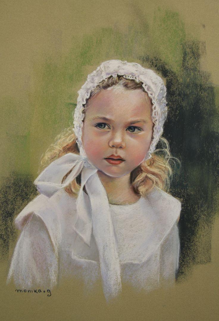 Petite Bretonne en blanc Pastel 50 x 65 cm par Monika.g
