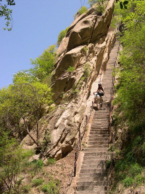 "Mt. Huashan in China, The Heavenly Stairs"": Hiking Trail, Bucket List, Stairs, Huashan, Hua Shan, Lead, Places, Scariest Trail, China"