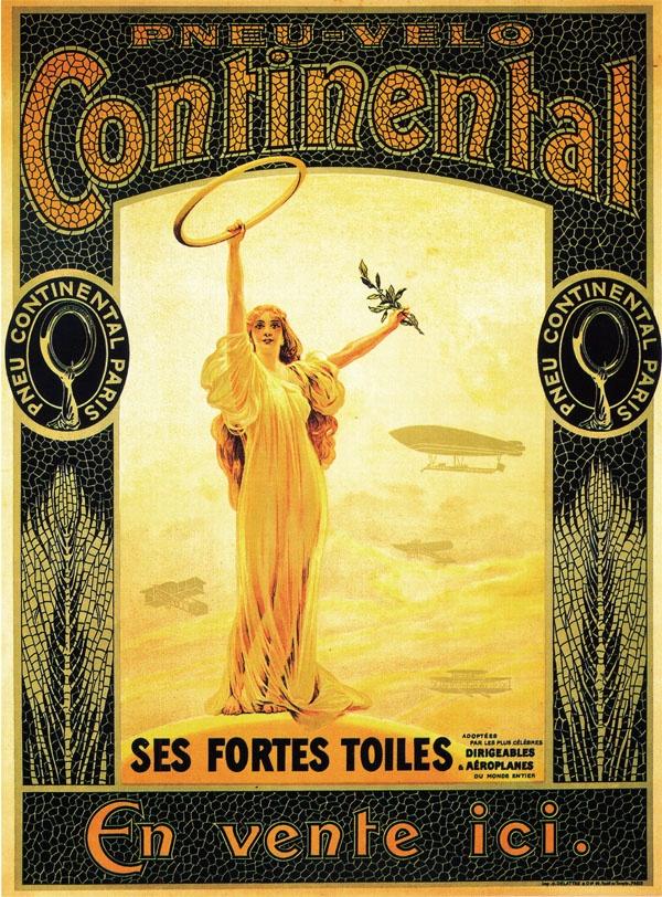 Pneu-Velo - Pneu Continental Paris - Ses Fortes Toiles adaptées per les plus celébres dirigeables & aéroplanes du monde entier - En vente ici.