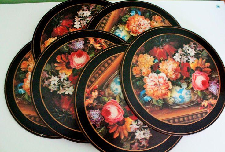 Vintage Set 6 Black Pimpernel Place Mats Floral Round Placemats Flowers Cork Back Tablemats by Grandchildattic on Etsy