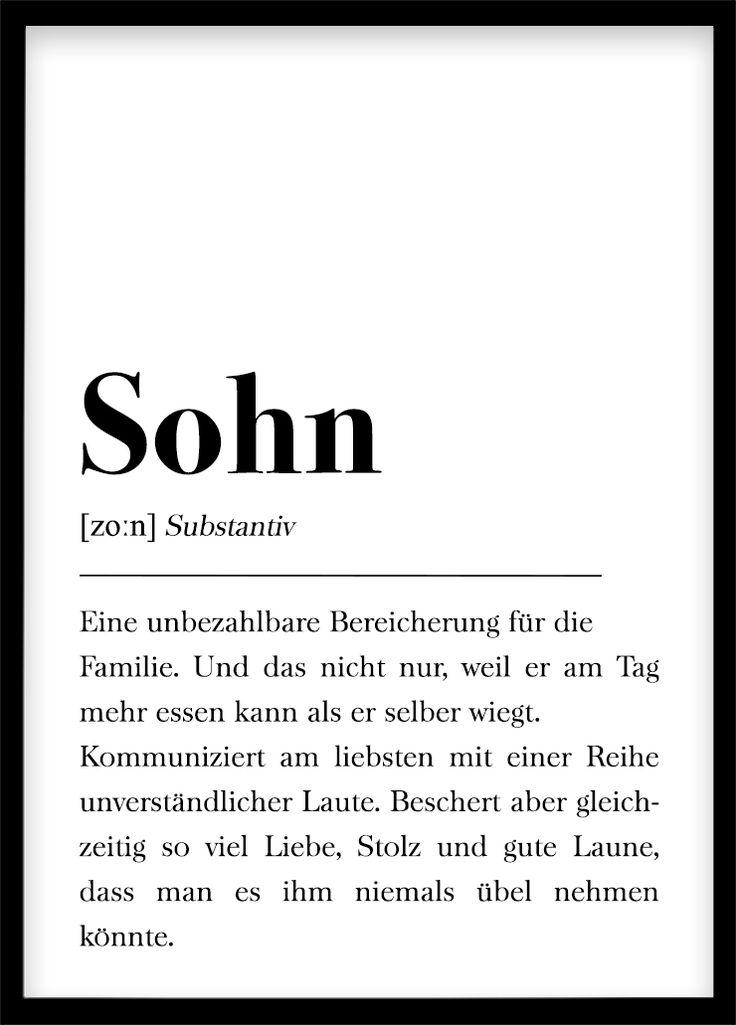DIN A4 Poster: Geschenk für Sohn, Geburtstagsgeschenk für Zimmer/Wohnung Plakat Wörterbuch, Poster mit Text, Skandinavisch Schwarz Weiß
