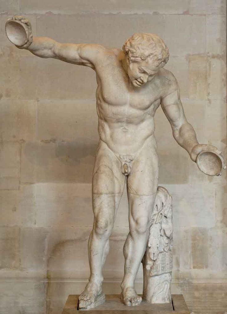 "Greek Hellenistic. Satyr from ""Invitation to the Dance."" The cymbals in the satyr's hands were added during a faulty restoration."