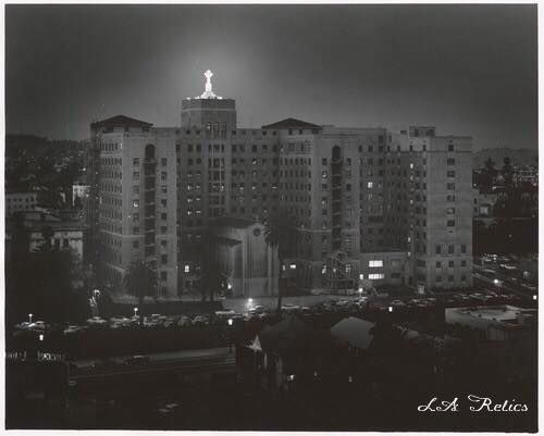 Good Samaritan Hospital, general view showing cross on top. The hospital is located at 1225 Wilshire Boulevard. Photograph taken May 10, 1956. Source: California State Library
