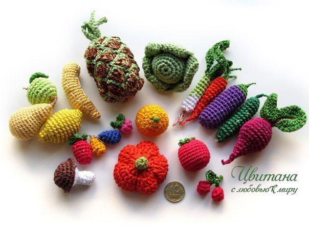 вязанные овощи, вязанные фрукты, вязанные игрушки, развивающие игрушки, игровые наборы