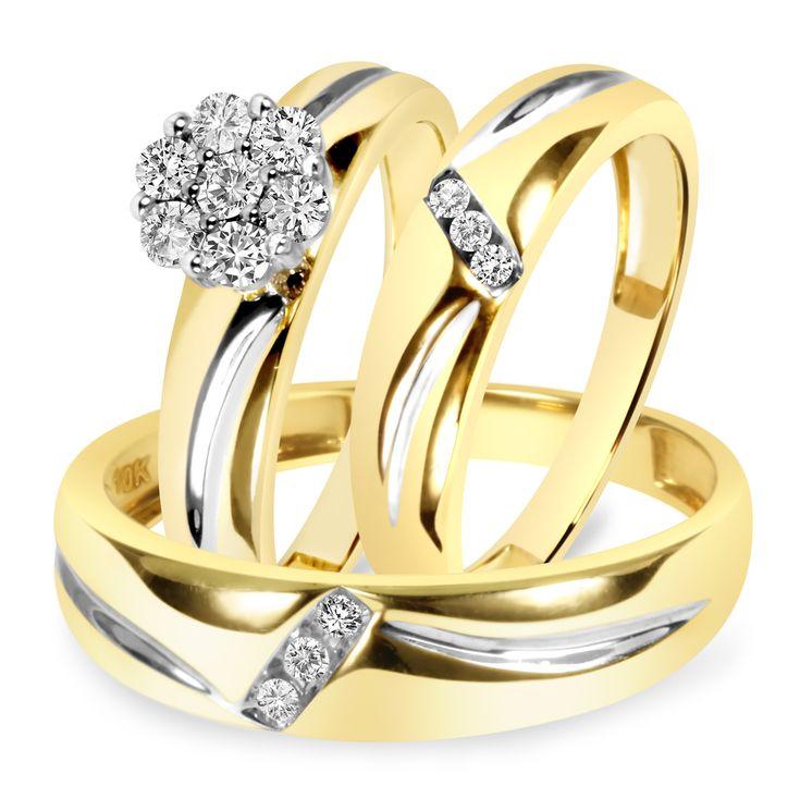 1/2 Carat T.W. Diamond Trio Matching Wedding Ring Set 14K Yellow Gold