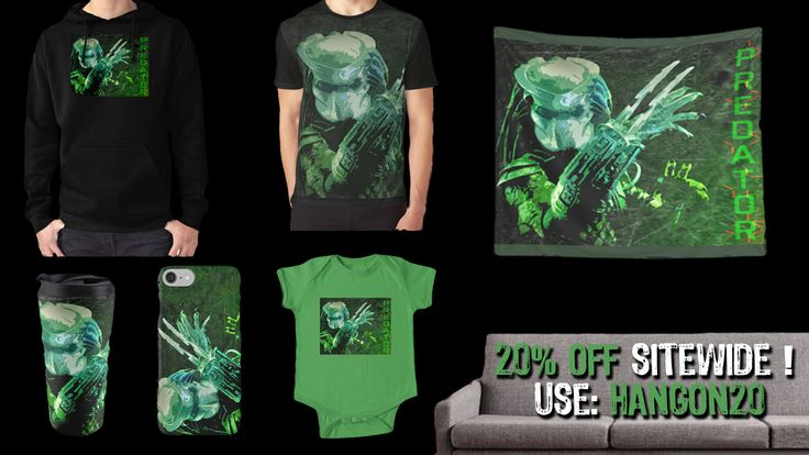 20% off Predator movie gifts. Use code: HANGON20. #predator #predatormovieposter #predatormovietshirt #redbubble #discount #gifts #save #giftsforhim #giftsforher #cinema #movies #film #homecinema #babyonesie #walltapestry #phonecases