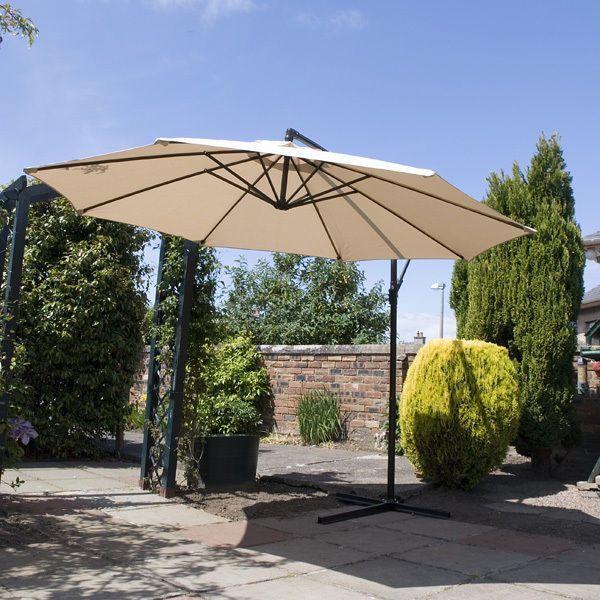 Outdoor Cantilever Parasol Garden Umbrella 3m Sun Shade Cover White Luxury Patio