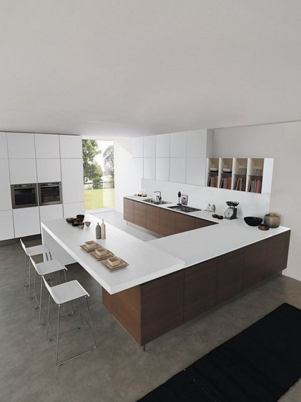 Exquisite U-Shaped Kitchen Island with Dining Area and Lots of Cupboards and Shelves