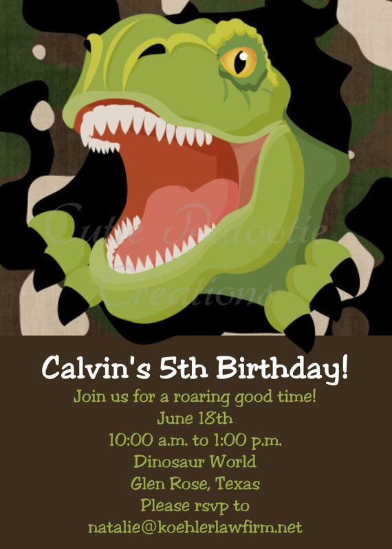 17 Best ideas about Dinosaur Birthday Invitations on Pinterest ...