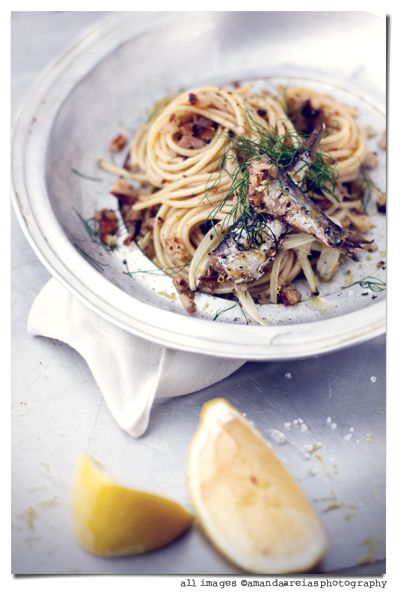 // Spaghetti with sardines  fennel