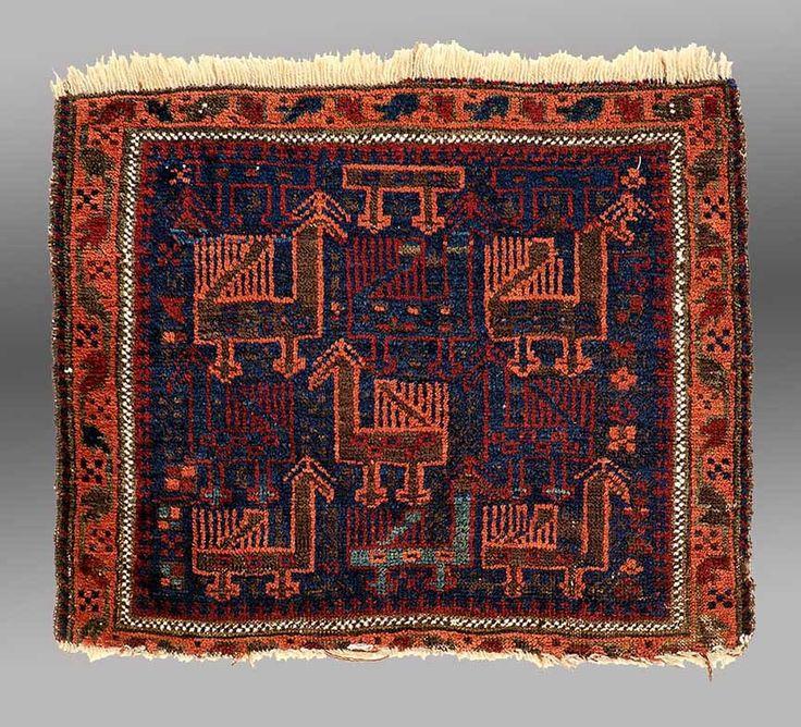 Iran,  19th Century, Wool pile 63.5 x 55.8 cm (25 x 22 in.) Richard Stewart Collection