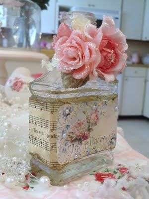 Shabby bottle - I love the page of music used to decorate it. My character Elizabeth Ann would love something like this!
