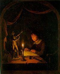 Omgeving van Gerard Dou: een tekenende kunstenaar in zijn atelier, gezien door een vensteropening. ca. 1650. Dorotheum, Wenen.