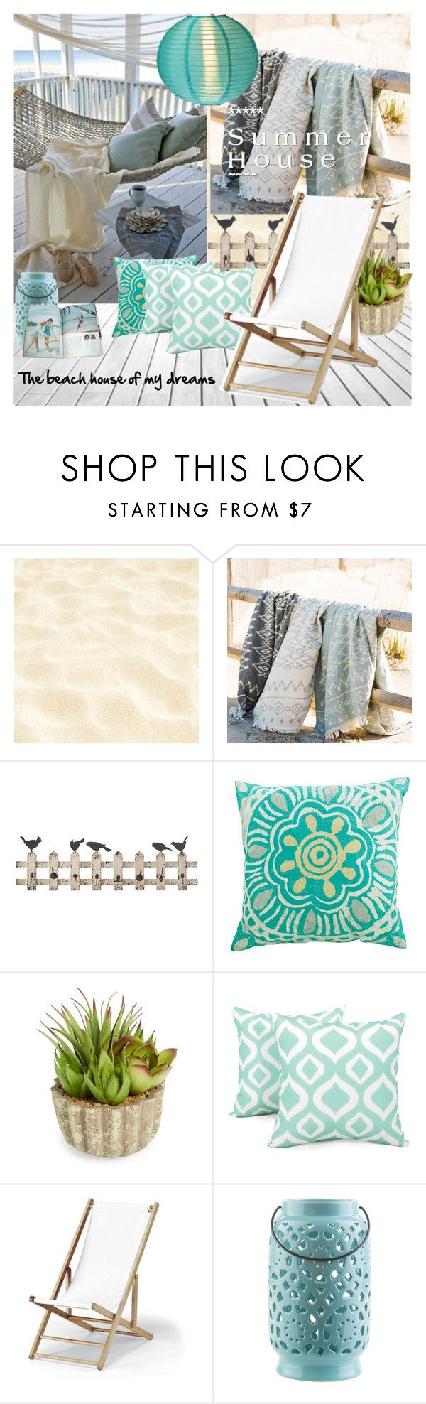 """Summer House"" by nicolevalents ❤ liked on Polyvore featuring interior, interiors, interior design, home, home decor, interior decorating, Home Decorators Collection, Allstate Floral, Arlee Home Fashions and Telescope Casual"