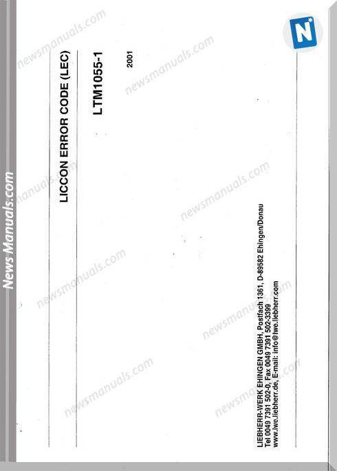 Liebherr Ltm 10551 Liccon Models Error Codes | Fault codes