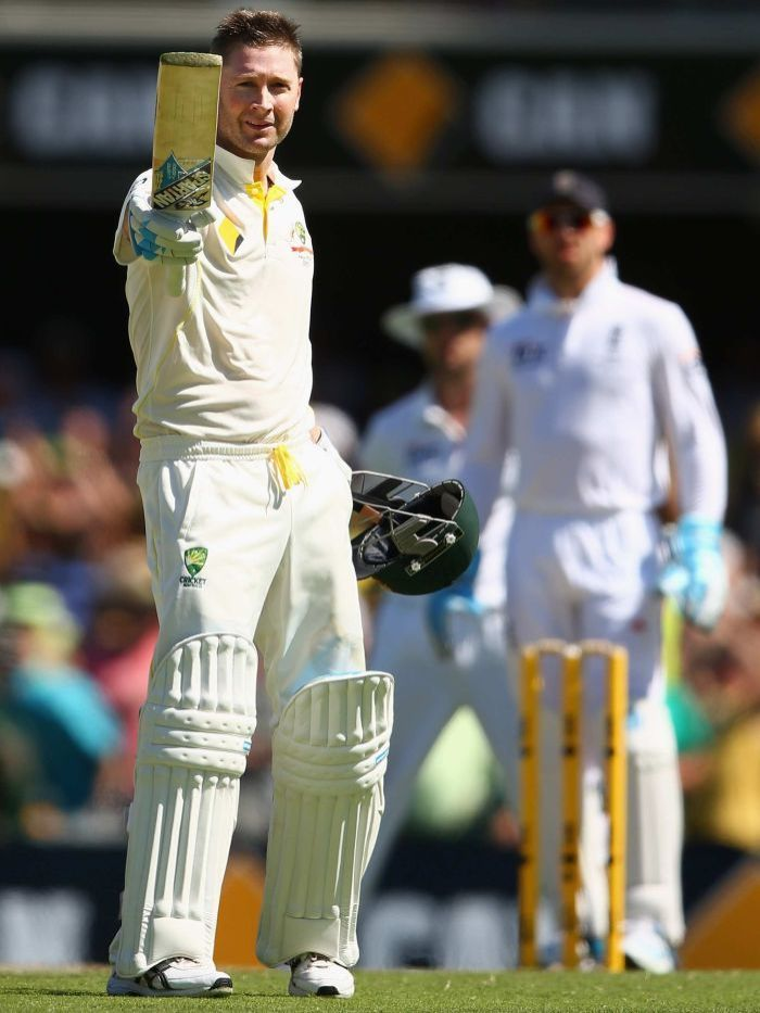 Michael Clarke scores a century - Australian captain Michael Clarke celebrates scoring a century during day three of the First Ashes Test match between Australia and England at The Gabba on November 23, 2013 in Brisbane, Australia. Getty: Cameron Spencer