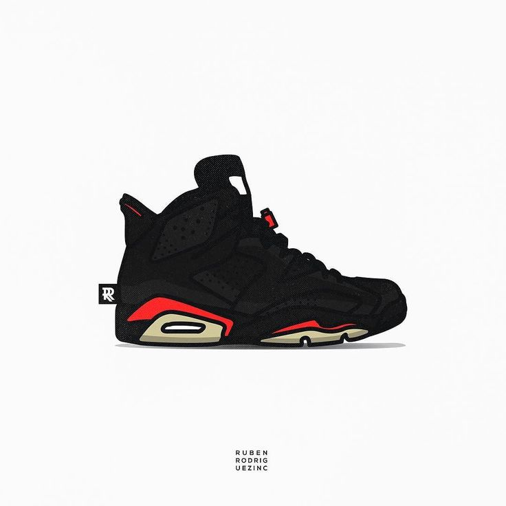 Shoe Collection Series | Air Jordan 6 Black Infrared #rubenrodriguezinc  #graphicdesign #vector #