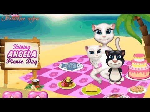 Говорящая кошка Анжела на пикнике Talking Angela детские игры онлайн