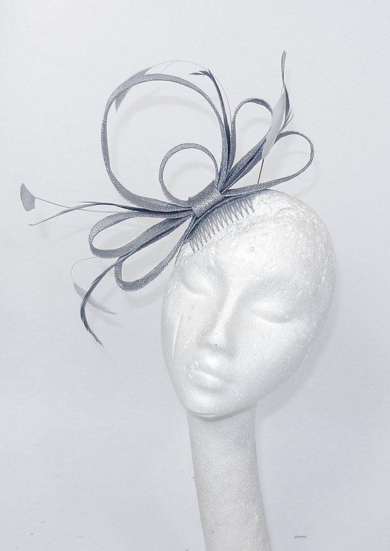 Metalic Silver Fascinator Hat for Weddings, Cocktails, Church and Derby