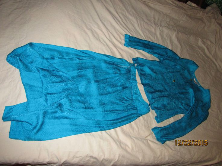 New OLD STOCK With Tag Ladies Dress Suit Pure Silk ARGENTI Size 8 Petite Blue #Argenti #DressSuit
