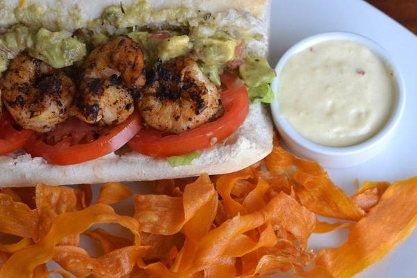 Blackened Shrimp & Avocado Po-Boy Recipe -- Best Seafood Po-Boy Winner