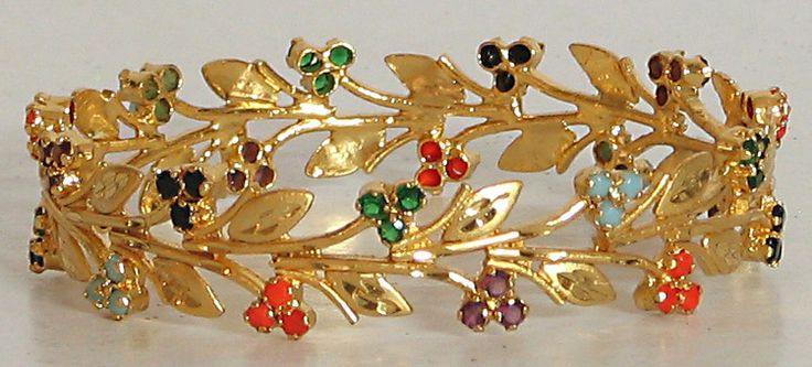 Stone Studded and Gold Plated Bracelet (Stone and Metal))