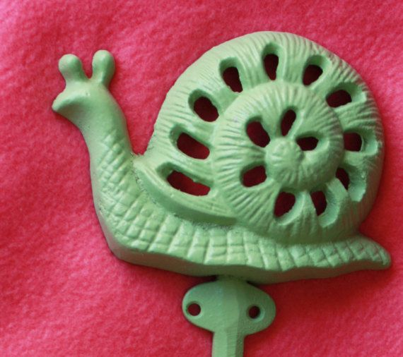 Shabby Chic Snail Hook Pistachio Green Towel by SewNiceandPaint