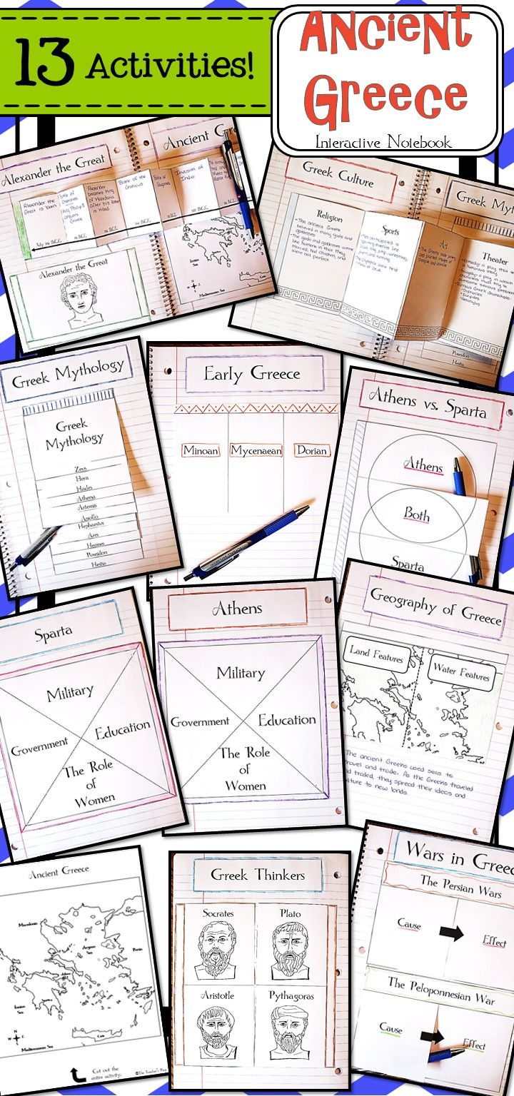 These 13 interactive notebook activities will help students organize information about the ancient Greeks!