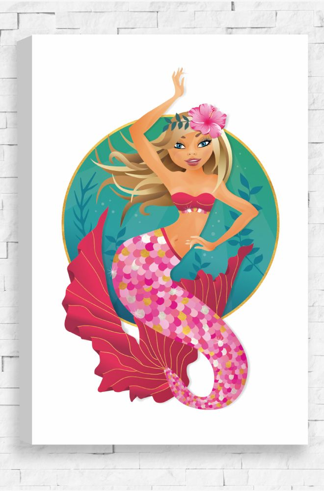 An elegant canvas portrait of a beautiful mermaid, on a white background in the deep seas.