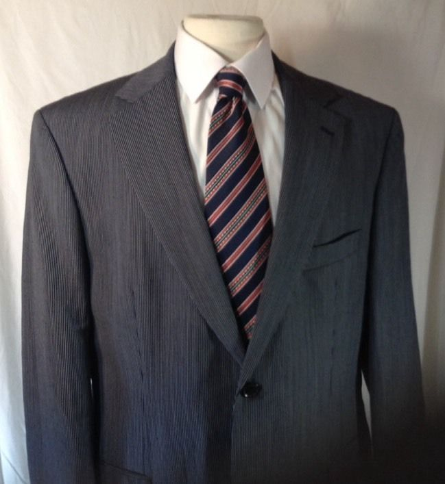 Hugo Boss Suit Jacket 44R Mens Pasolini Blue Fancy Stripe Linen Virgin Wool  #HUGOBOSS #