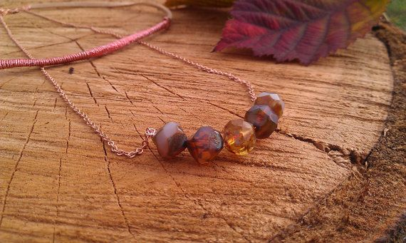 Little chestnut necklace-rose gold layered mokka amber beaded bar necklace by Planeteer