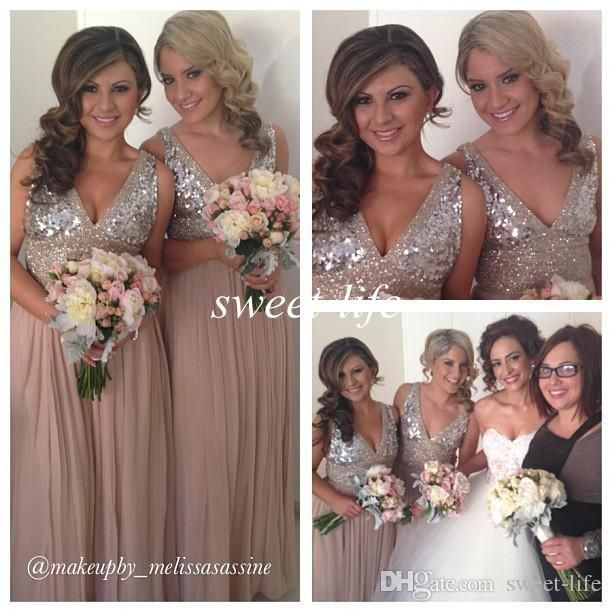 Sequins Chiffon V Neck Bridesmaid Dresses Plus Size Rose Gold Maid Of Honor Wedding Party Gowns Maternity 2015 Custom Made Evening Dresses Petite Bridesmaid Dresses Sage Green Bridesmaid Dress From Sweet Life, $91.23| Dhgate.Com