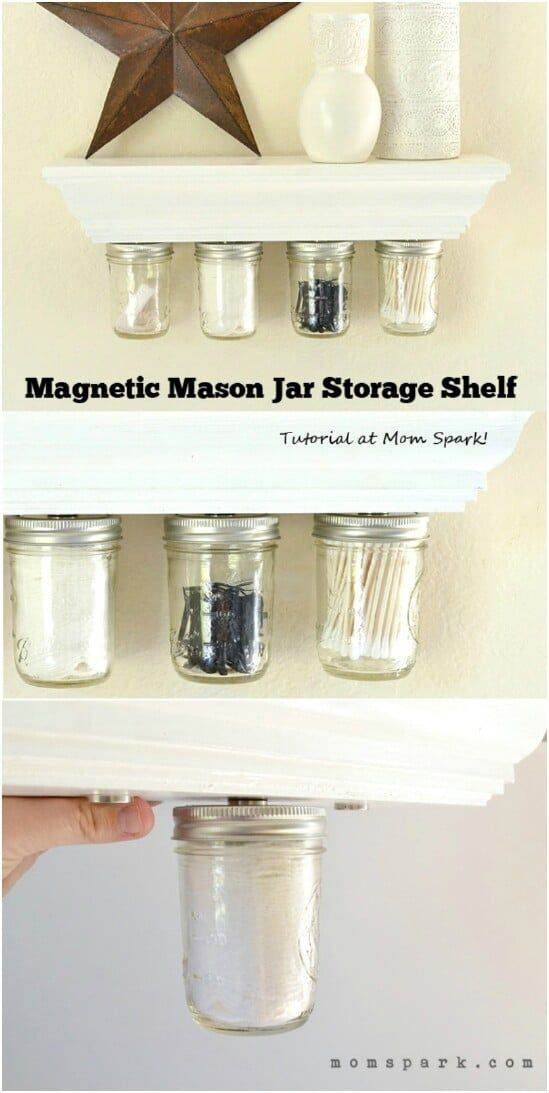 30 Mind Blowing Diy Mason Jar Organizers You Ll Want To Make Right Away With Images Diy Kitchen Shelves Mason Jar Organization Diy Bathroom Storage