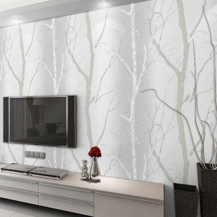 Details About 10m Birch Tree Branches Textured White Woods Wallpaper Washable