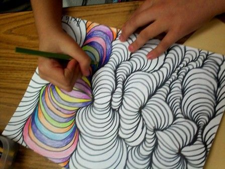my uncle used to do the same thing for me. Art With Mr. E: Line Design w/Shading - 4th Grade Very cool, fun art shading project from Art With Mr. E.; he's an elementary art specialist. Try this with your kids (but I think grown ups would enjoy this too).