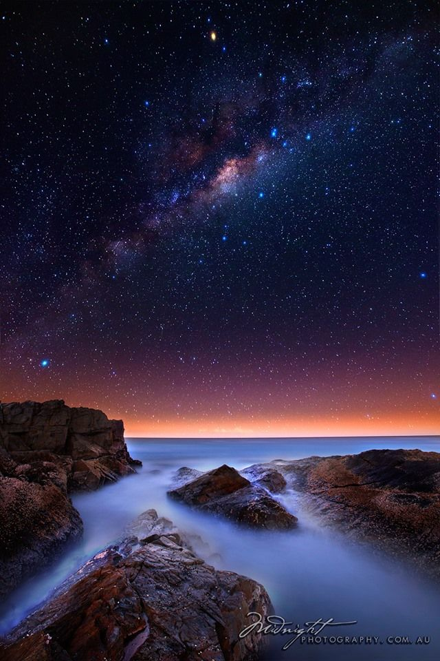 Milky Way over the Pacific Ocean from Noosa Heads, QLD ...